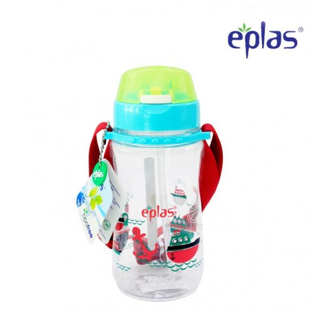 Eplas Kids Water Bottle with Push Button, Straw & Removable Strip 480ml (EGB-480BPA/Turquoise)