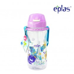 Eplas Kids Water Bottle with Push Button, Straw & Removable Strip 580ml (EGB-580BPA/Purple)