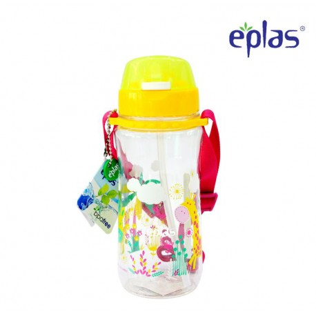 Eplas Kids Water Bottle with Push Button, Straw & Removable Strip 580ml (EGB-580BPA/Yellow)