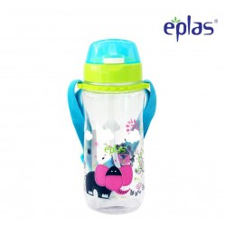 Eplas Kids Water Bottle with Push Button, Straw & Removable Strip 580ml (EGB-580BPA/Blue)