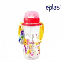 Eplas Kids Water Bottle with Push Button, Straw & Removable Strip 580ml (EGB-580BPA/Pink)