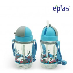 Eplas Kids Water Bottle with Straw & Removable Strip 380ml (EGBQ-380BPA/Blue)