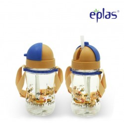 Eplas Kids Water Bottle with Straw & Removable Strip 380ml (EGBQ-380BPA/Orange)