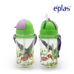 Eplas Kids Water Bottle with Straw & Removable Strip 480ml (EGBQ-480BPA/Green)