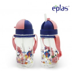 Eplas Kids Water Bottle with Straw & Removable Strip 480ml (EGBQ-480BPA/Pink)