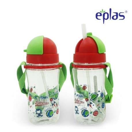 Eplas Kids Water Bottle with Straw & Removable Strip 480ml (EGBQ-480BPA/Red)
