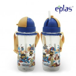 Eplas Kids Water Bottle with Straw & Removable Strip 580ml (EGBQ-580BPA/Blue)