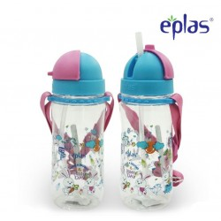 Eplas Kids Water Bottle with Straw & Removable Strip 580ml (EGBQ-580BPA/Pink)