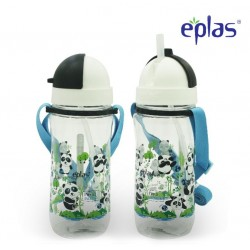 Eplas Kids Water Bottle with Straw & Removable Strip 580ml (EGBQ-580BPA/White)