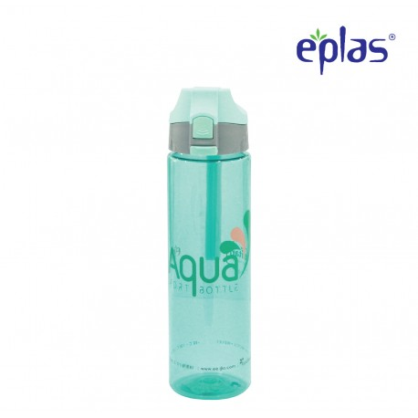 Eplas Water Bottle with Push Button Cover & Silicone Handle 750ml (EGD-750BPA/BlueAqua)