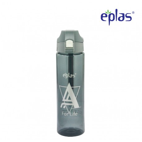 Eplas Water Bottle with Push Button Cover & Silicone Handle 750ml (EGD-750BPA/BlackAForLife)