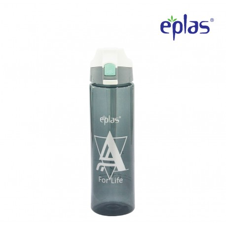Eplas Water Bottle with Push Button Cover & Silicone Handle 750ml (EGD-750BPA/W.CoverAForLife)