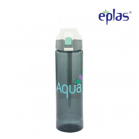 Eplas Water Bottle with Push Button Cover & Silicone Handle 750ml (EGD-750BPA/W.CoverAqua)