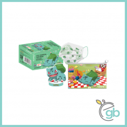 Durio 546K Pokemon Surgical Face Mask Bulbasaur (Kids, 40pcs/box, Face Mask Keeper and DIY Paper Toy Included)
