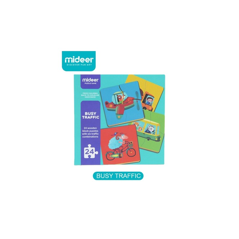 Mideer 4pcs Wood Puzzle (Busy Traffic) | Games & Puzzles