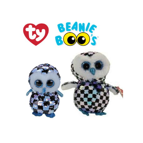 Ty Plush Toys (Malaysia Official) Flippables Regular and Medium Topper The Sequin Multicolor Owl Sequins Soft Toys