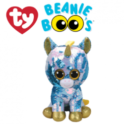 Ty Plush Toys (Malaysia Official) Flippables Large Dazzle the Blue Unicorn Sequins Soft Toys