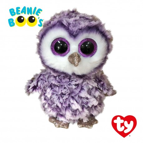 Ty Plush Toys (Malaysia Official) Beanie Boos Regular and Medium Moonlight the Purple Owl Soft Toys