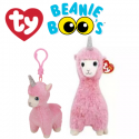 Ty Plush Toys (Malaysia Official) Beanie Boos Clip and Regular Lana the Pink Llama Soft Toys
