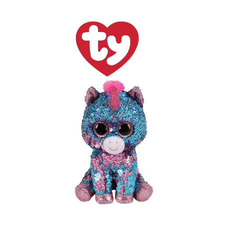 Ty Plush Toys (Malaysia Official)  Flippables Regular Celeste the Sequin Aqua Pink Unicorn Sequins Soft Toys