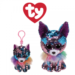 Ty Plush Toys (Malaysia Official) Flippables Clip, Regular and Medium Yappy the Blue Purple Sequin Chihuahua Sequins Soft Toys
