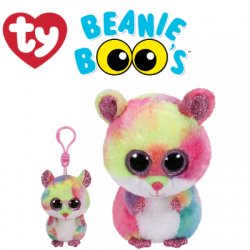 Ty Plush Toys (Malaysia Official) Beanie Boos Clip, Regular and Medium Rodney the Multicolor Hamster Soft Toys