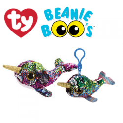 Ty Plush Toys (Malaysia Official) Flippables (Multiple Sizes) Calypso the Sequin Multi Narwhal Sequins Soft Toys