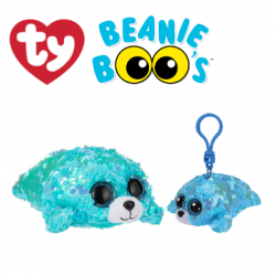 Ty Plush Toys (Malaysia Official) Flippables (Multiple Sizes) Waves the Sequin Aqua Seal Sequins Soft Toys