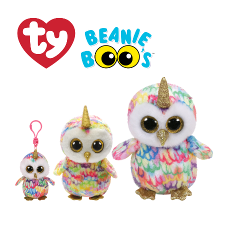 Ty Plush Toys (Malaysia Official) Beanie Boos Clip, Regular and Medium Enchanted the Owl with Horn Soft Toys
