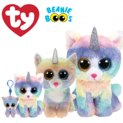 Ty Plush Toys (Malaysia Official) Beanie Boos Clip, Regular and Medium Heather the Cat with Horn Soft Toys