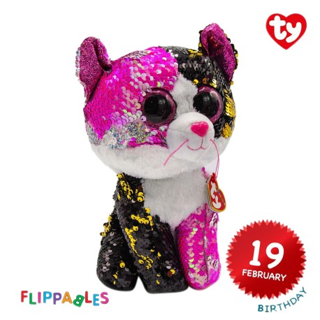 Ty Plush Toys (Malaysia Official) Flippables (Medium Size) Malibu The Sequin Multicolor Cat Sequins Soft Toys