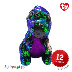 Ty Plush Toys (Malaysia Official) Flippables (Medium Size) Crunch The Sequin Multicolor Dinosaur Sequins Soft Toys