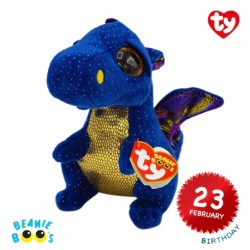Ty Plush Toys (Malaysia Official) Beanie Boos (Multiple Size) Saffire The Blue Dragon Soft Toys