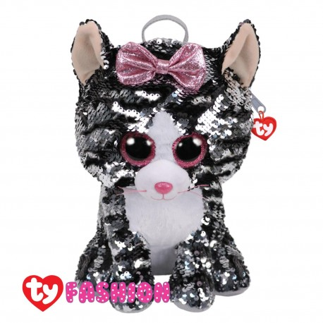 Ty Fashion (Malaysia Official) Sequins Backpack (Large) Kiki the Grey Cat Accessories Backpacks