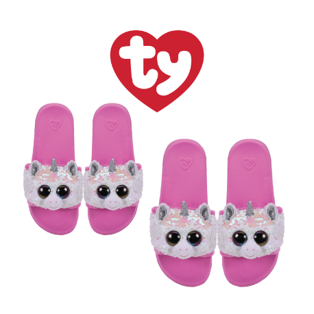 Ty Fashion Footwear (Malaysia Official) Sequin Slides (Size S,M,L) Diamond the Unicorn Slides Sandals