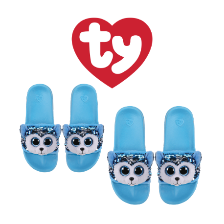 Ty Fashion Footwear (Malaysia Official) Sequin Slides (Size S,M,L) Slush The Husky Slides Sandals