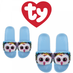 Ty Fashion Footwear (Malaysia Official) Sequin Slides (Size S,M,L) Owen The Multicolor Owl Slides Sandals