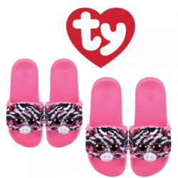 Ty Fashion Footwear (Malaysia Official) Sequin Slides (Size S,M,L) Zoey The Zebra Slides Sandals