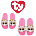 Ty Fashion Footwear (Malaysia Official) Sequin Slides (Size S,M,L) Fantasia The Pink Unicorn Slides Sandals