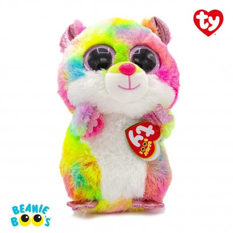 Ty Plush Toys (Malaysia Official)  Beanie Boos Clip, Regular and Medium  Rodney the Multicolor Hamster  Soft Toys Gift I