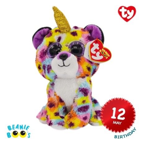 Ty Plush Toys (Malaysia Official)  Beanie Boos Clip, Regular and Medium  Giselle the Rainbow Leopard with Horn  Soft Toy