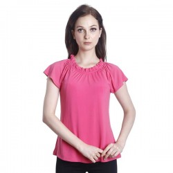 Fabulous Mom Anna Gathered Neck Nursing Blouse (Pink)