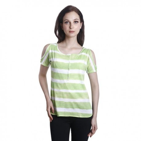Fabulous Mom Peephole Shoulder Top (Lime)
