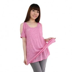 'Fabulous Mom Peephole Shoulder Top (Pink)'