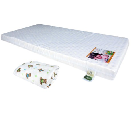 """Bumble Bee Latex Baby Mattress 28x52x4"""" with Fitted Crib Sheet"""