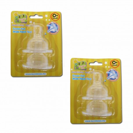 Bumble Bee X Cut Wideneck Teat Twin Pack - S size (WE0005)