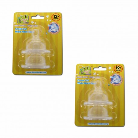 Bumble Bee X Cut Wideneck Teat Twin Pack - XL size