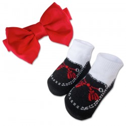 Bumble Bee Baby Bow Tie with Socks Set(Red) (XLA0024)