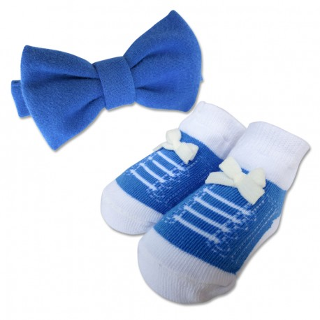 Bumble Bee Baby Bow Tie with Socks Set (Navy)