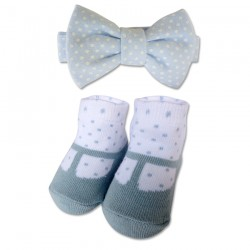 Bumble Bee Baby Bow Tie with Socks Set (Polka Blue) (XLA0027)